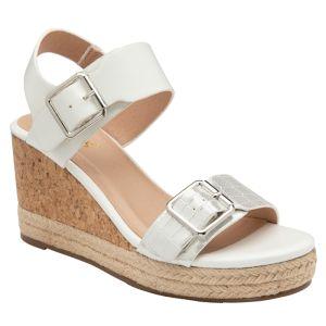 Lotus Women's Primrose Open Toe Wedge Sandals - White
