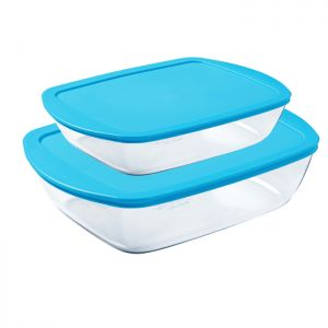 Pyrex Cook & Store Food Containers, Pack of 2 - Blue
