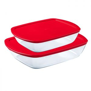 Pyrex Cook & Store Food Containers, Pack of 2 - Red