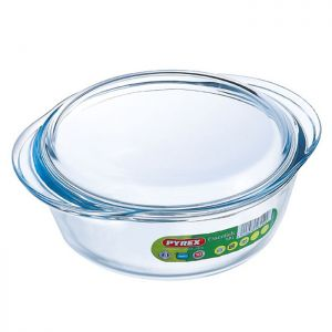Pyrex Essentials Round Glass Casserole Dish with Lid - 1 Litre
