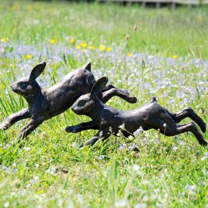Home & Garden Running Rabbits Garden Ornament