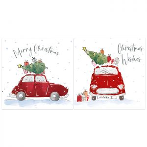 Red Car & Tree Christmas Cards - 12 Pack