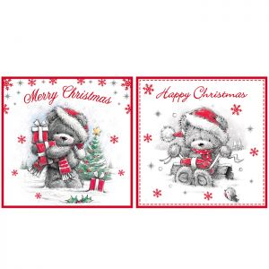 Red & Grey Teddy Bear Christmas Cards - 12 Pack