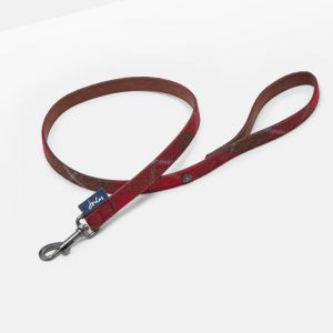 Doggy Joules Leather Lead - Red Tweed