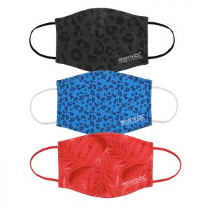 Regatta Adult Face Mask, Pack of 3 - Red Tropical, Black Leopard Print, Blue Leaves