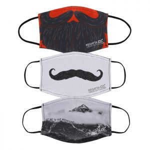 Regatta Adult Face Mask, Pack of 3 - Moustache, Mountains, Beard