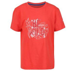Regatta Children's Bosley III Printed T-shirt, Be Wild Print – Fiery Coral