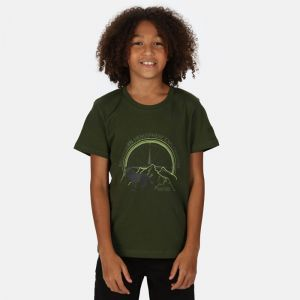 Regatta Children's Bosley III Printed T-shirt, Wolf Print – Racing Green