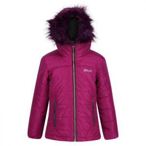 Regatta Childrens' Westhill Fur Trim Quilted Hooded Jacket - Beetroot