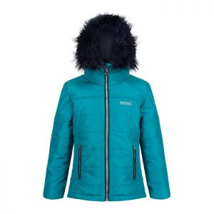 Regatta Childrens' Westhill Fur Trim Quilted Hooded Jacket - Deep Lake Teal