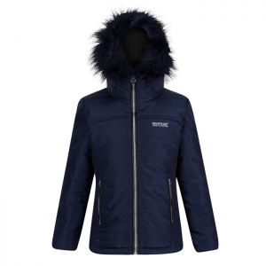 Regatta Childrens' Westhill Fur Trim Quilted Hooded Jacket - Navy