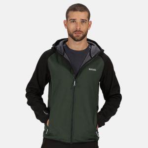 Regatta Men's Arec II Hooded Softshell Jacket – Deep Forest / Black