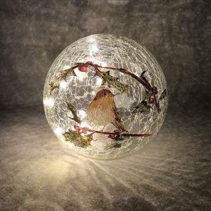 Festive Robin LED Lit Crackle Glass Ball - 20cm