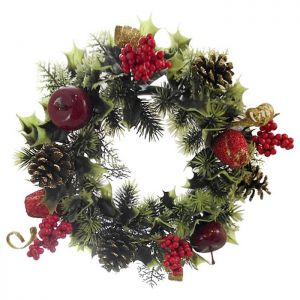 Roses & Apples Wreath, Red – 30cm