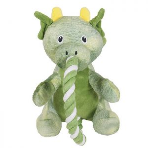 Rosewood Super Tough Plush Dog Toy – Green Rope Dragon