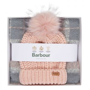 Barbour Women's Saltburn Beanie and Boucle Scarf Gift Set - Pink / Grey