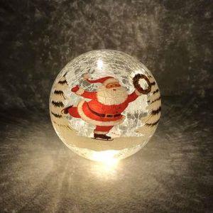 Festive Santa LED Lit Crackle Glass Ball