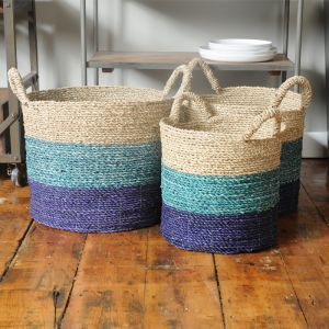 Blue Stripe Wicker Baskets - Set of 3