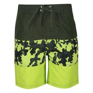 Regatta Children's Shaul III Swim Shorts - Racing Green Camo Print Electric Lime