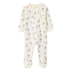 Joules Baby Cotton Zip Babygrow – White Sheep