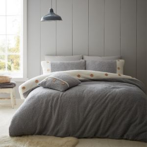 Catherine Lansfield So Soft 2 tone Buttoned Sherpa Duvet Set, Grey