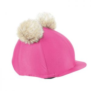 Shires Aubrion Double Pom Pom Hat Cover – Raspberry & Cream