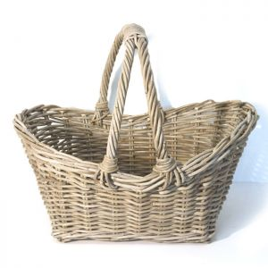 Shopper Style Wicker Log Basket, Grey - Large