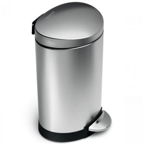 Simplehuman Semi Round Pedal Bin, 6 Litre - Brushed Stainless Steel
