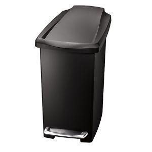 Simplehuman Plastic Slim Pedal Bin, 10 Litre - Black