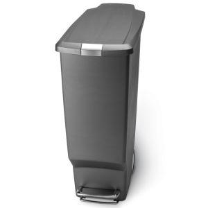 Simplehuman Slim Plastic Pedal Bin, 40 Litre - Grey