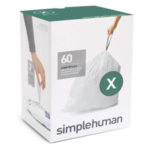 Simplehuman Code X Custom Fit Bin Liners, 80 Litre - 60 Pack