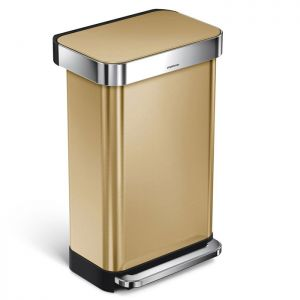 Simplehuman Rectangular Pedal Bin, 45 Litre - Brass Stainless Steel
