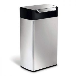 Simplehuman Rectangular Touch Bar Bin, 40 Litre - Black Top, Stainless Steel