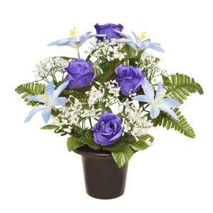 Sincere UK Lily, Rose and Fern Grave Pot – Blue, 29cm