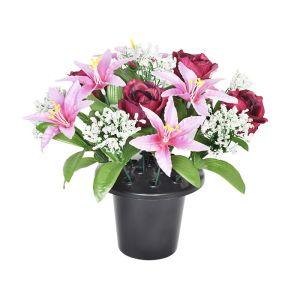 Sincere UK Lily & Rose Grave Pot – Burgundy, White & Pink 25cm