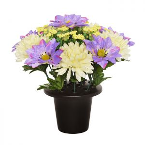 Sincere UK Clematis and Chrysanthemum Grave Pot – Lilac & White, 25cm