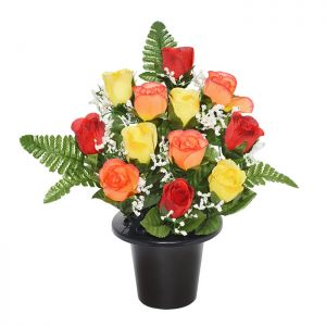 Sincere UK Rosebud & Fern Grave Pot – Red, Orange & Yellow 29cm