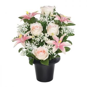 Sincere UK Lily, Rose and Fern Grave Pot – Pink & White, 29cm