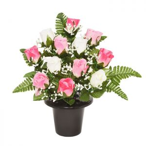Sincere UK Rose and Fern Grave Pot – Pink & White, 29cm