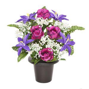Sincere UK Lily, Rose and Fern Grave Pot – Purple, 29cm