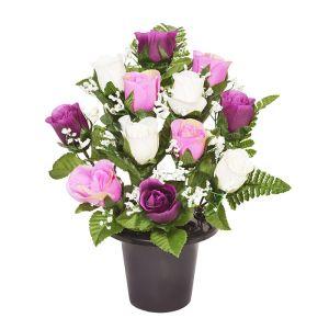 Sincere UK Rose and Fern Grave Pot – Purple & White, 29cm