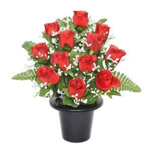 Sincere UK Rose and Fern Grave Pot – Red, 29cm