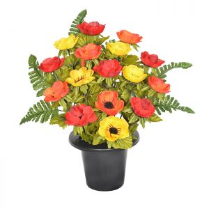 Sincere UK Anemone and Fern Grave Pot – Red, Orange & Yellow, 29cm