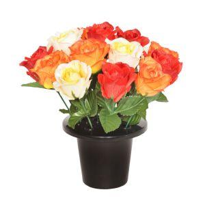 Sincere UK Open Rose Gravepot – Red, Orange & Yellow, 25cm
