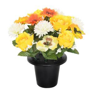Sincere UK Rose, Chrysanthemum & Pansy Gravepot – Yellow, 25cm