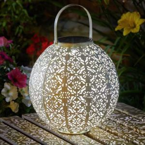 Smart Solar Damasque Lantern - White/Gold