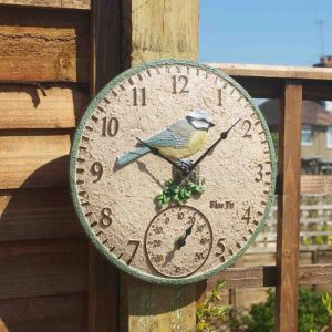 Smart Garden Outside In Blue Tit Wall Clock & Thermometer