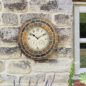 Smart Garden Outside In Stonegate Mosaic Wall Clock and Thermometer