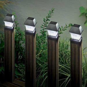 Smart Solar Black Post Lights – Pack of 4