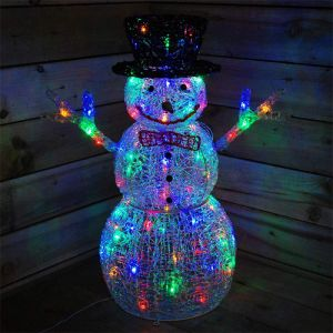 Premier 76cm Acrylic Snowman LED Light Figure - Multi Colour